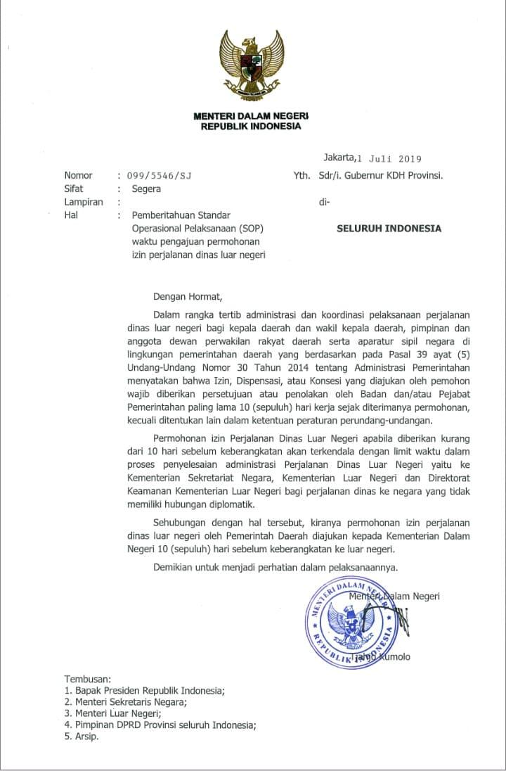 Mendagri Keluarkan Surat Pemberitahuan Sop Pengajuan Permohonan Izin Perjalanan Dinas Luar Negeri Tribunbuton Com